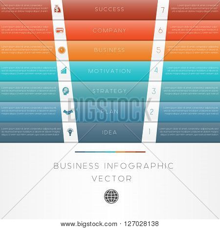 Colour strips vector illustration template of business infographic numbered seven position