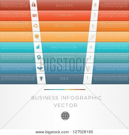 Colour strips vector illustration template of business infographic numbered eight position