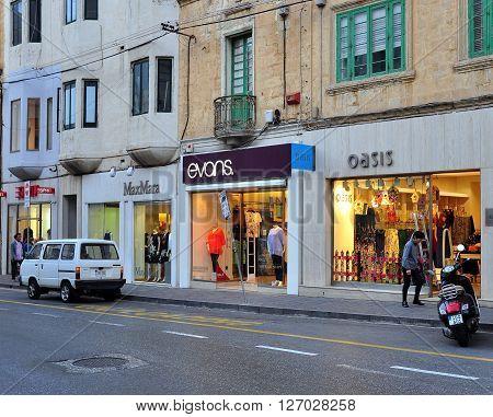 SLIEMA MALTA - MARCH 20: View of the shopping street in Sliema city Malta on March 20 2013