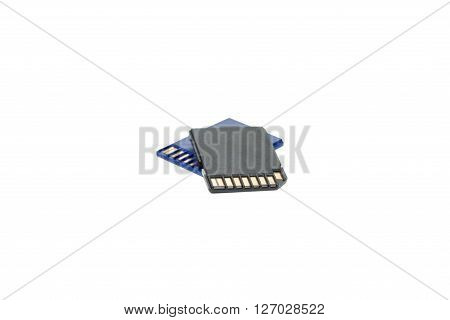 Stack of SD memory cards isolated on white background