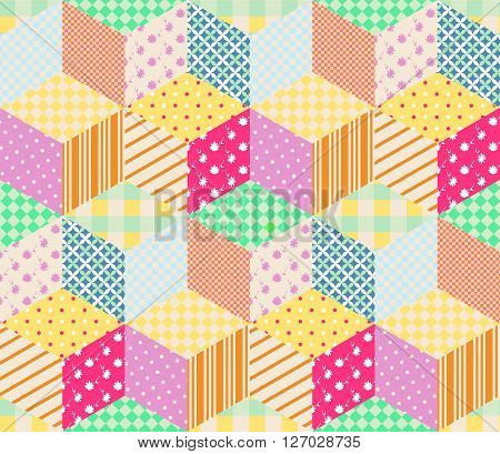Bright seamless patchwork pattern. Childish vector illustration of quilt.