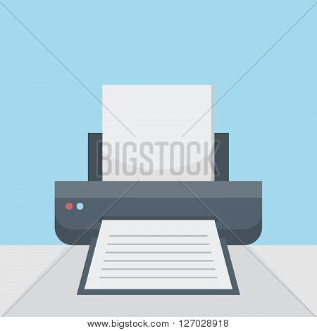 Printer on table, print option on flat style background concept. Vector illustration design