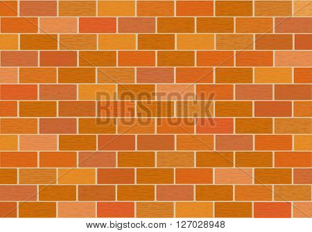 Masonry of red bricks different shades. Vector.  Horizontal.