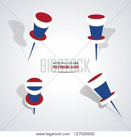 Set of pushpin in the national colors of Netherlands vector illustration.