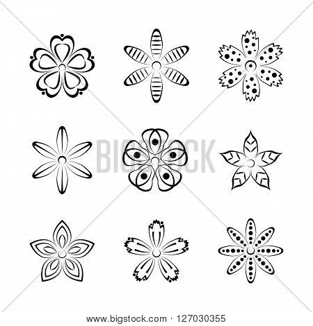 Flower buds vector design elements isolated on white background with ornament second set.
