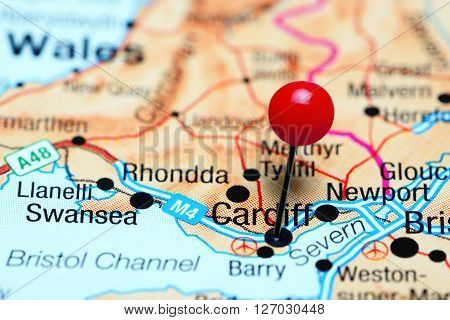 Cardiff pinned on a map of Wales