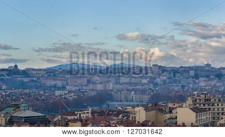 View on the old roofs of Lyon from Basilica Notre Dame de Fourviere, autumn, Lyon, France