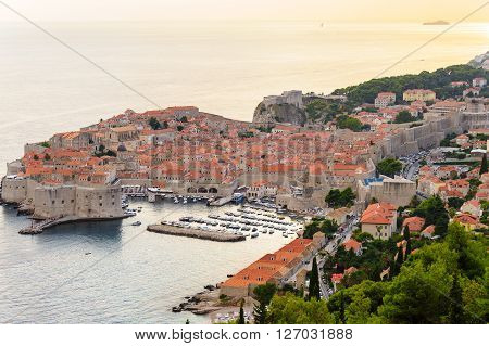 Bird's-eye view of Dubrovnik old city from the east at sunset