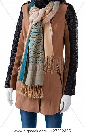 Jacket and scarf with fringe. Stylish scarf on female mannequin. Trendy jacket with nice scarf. Girl's fashionable autumn look.