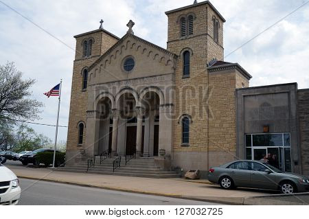 JOLIET, ILLINOIS / UNITED STATES - APRIL 19, 2015: The All Saints Greek Orthodox Church offers worship services in Joliet, Illinois
