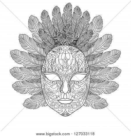 Carnival mask coloring book for adults vector illustration. Anti-stress coloring for adult. Zentangle style. Black and white lines. Lace pattern