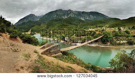 Suspension Bridge over the River Vjosa, Albania