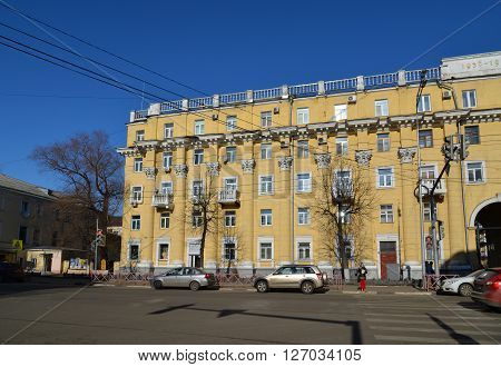 Russia, Yaroslavl-March 29.2016.  Residential building  of  a Soviet times.