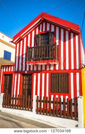 Colorful houses in Costa Nova Aveiro Portugal