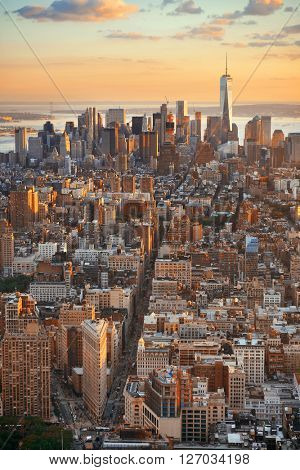New York City downtown sunset with skyline view.