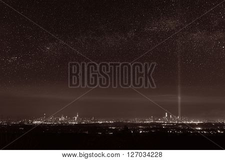 New York City skyline at night with star milkyway and September 11 tribute light