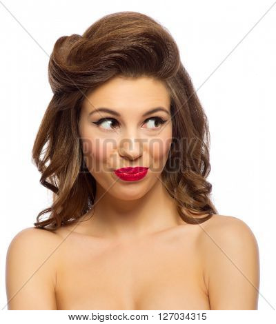 Young beautiful pinup girl isolated