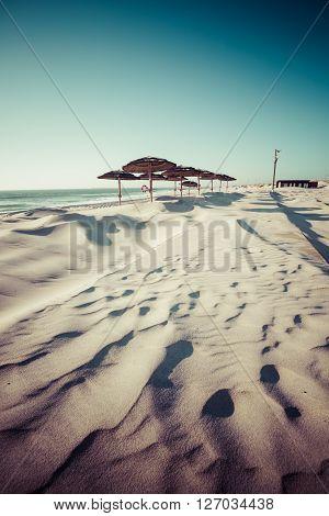 Costa Nova beach in Aveiro Portugal .