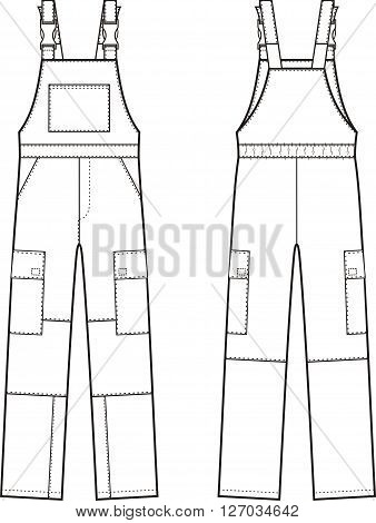 Vector illustration of work overalls with braces. Front and back views