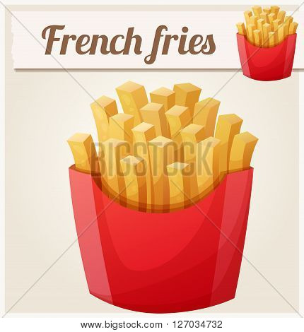 French fries. Detailed vector icon. Series of food and drink and ingredients for cooking.