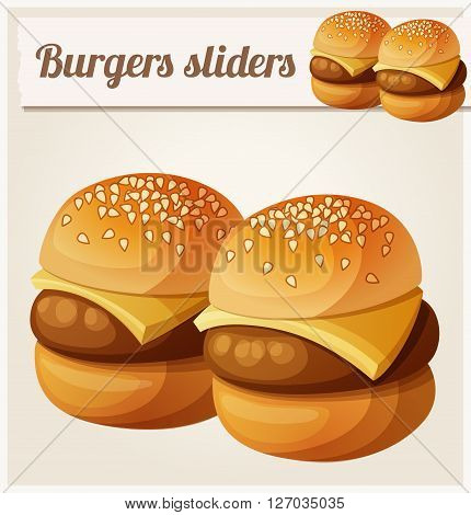 Kids burgers sliders. Detailed vector icon. Series of food and drink and ingredients for cooking.