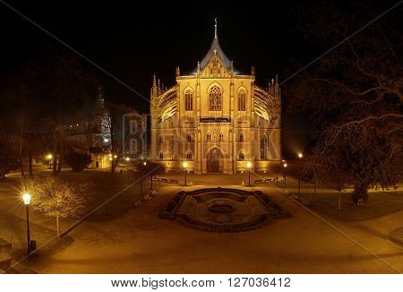 Night view of Saint Barbara's Cathedral in Kutna Hora, Czech Republic