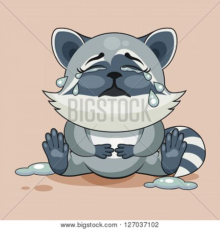 Vector Stock Illustration isolated Emoji character cartoon Raccoon cub crying, lot of tears sticker emoticon for site, info graphic, video, animation, websites, e-mails, newsletters, reports, comics