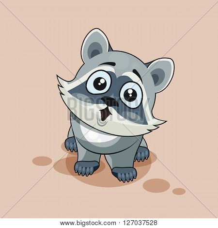 Vector Stock Illustration isolated Emoji character cartoon Raccoon cub surprised with big eyes sticker emoticon for site, info graphic, video, animation, websites, e-mails, newsletters, reports, comics