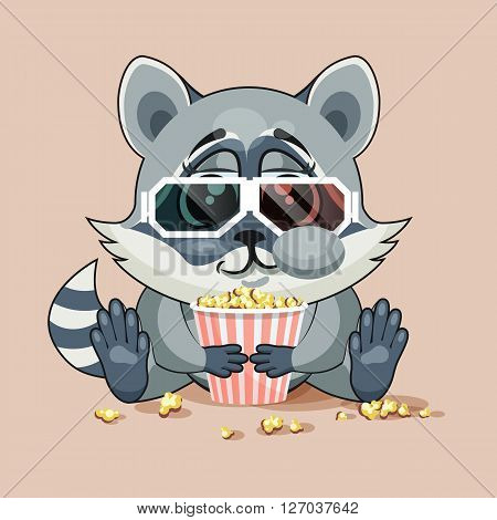 Vector Illustration Emoji character cartoon Raccoon cub chewing popcorn, watching movie in 3D glasses sticker emoticon for site, infographic, video, animation, website, e-mail, newsletter, report, comic
