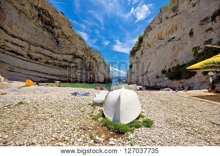 Vis, Croatia - August 26 2015: Stinva bay beach summer view on Island of Vis Croatia. Stinva is European best beach in 2016 by European Best Destinations travel blog.