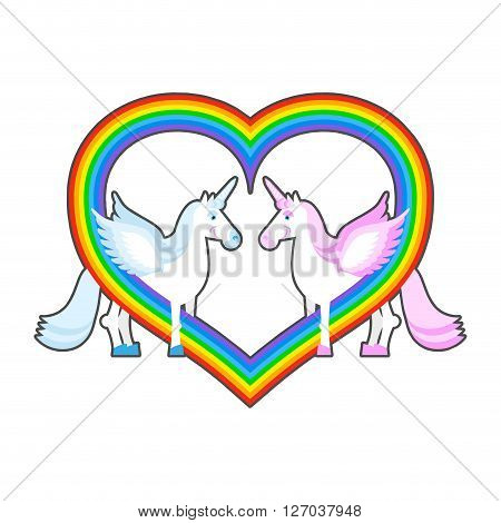 Two Unicorn And Rainbow Heart. Symbol Of  Lgbt Community. Pink And Blue A Fantastic Animal With  Hor