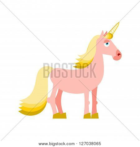 Pink Unicorn With Yellow Mane. Fantastic Animal On White Background. Fabulous Beast Isolated. Mythic