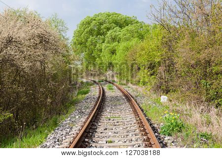 Green landscape with railroad and cloudy sky ** Note: Soft Focus at 100%, best at smaller sizes