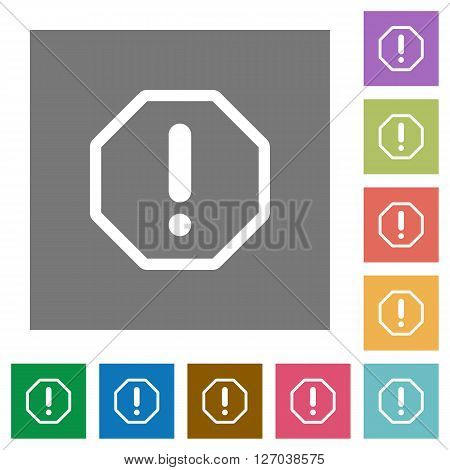 Error flat icon set on color square background.