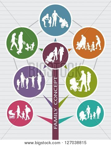 Conceptual Family Background with vector Silhouettes. Social Infographic.