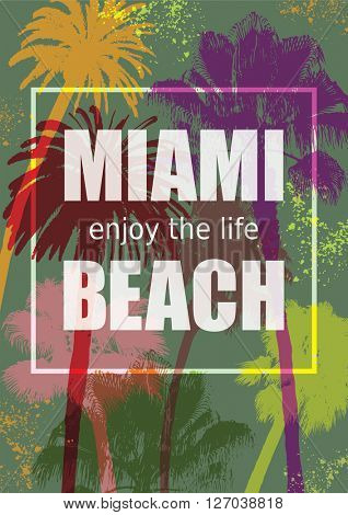 Color Tropical Background. Exotic Banner with Palm Trees. Ornament for T-Shirt. Summer Background for Tourism. Travel to Miami.