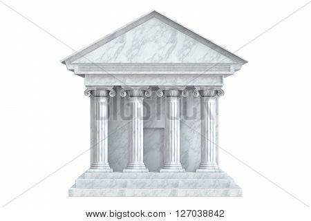 Ancient Colonnade Building 3D rendering isolated on white background