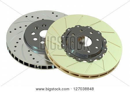 Car discs brake 3D rendering isolated on white background