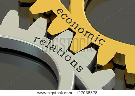 Economic Relations concept on the gearwheels concept. 3D rendering