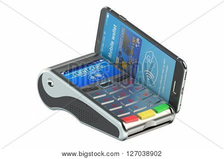 POS-terminal with smartphone NFC concept. 3D rendering