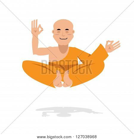 Tibetan Monk In An Orange Robe. Novice Yoga. Buddhist In  Lotus Position. Meditation And Enlightenme