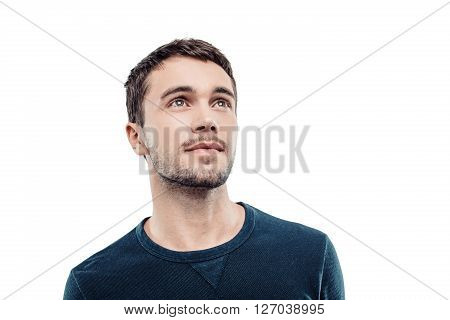 Portrait of stylish handsome young man isolated on white background. Man looking up. Free space for logo
