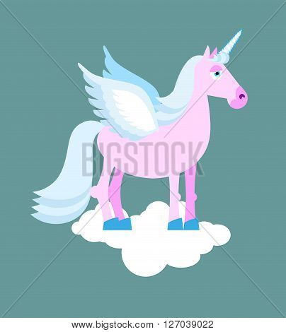 Purple Unicorn With Blue Mane On Cloud. Mythical Beast With Wings. Fabulous Beast With Horn In His F