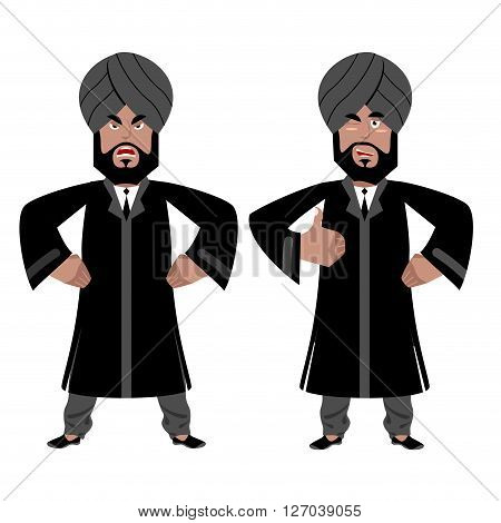 Indian Raja Set. Angry, Aggressive And Good Businessman In India. Hindu In Turban And Tie. Tradition