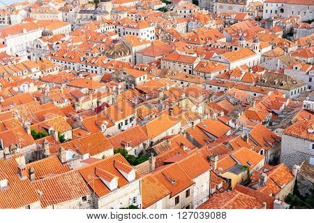 Bird's eye view of the old city od Dubrovnik from the northern walls