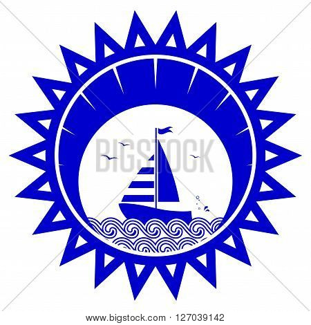 vector sailboat floating on the sea in sun isolated on white background
