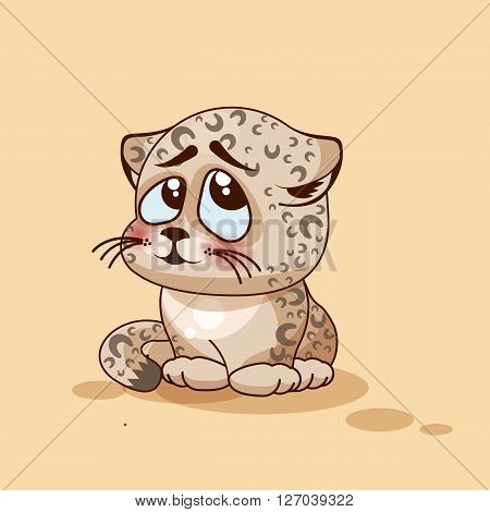 Vector Stock Illustration isolated Emoji character cartoon Leopard cub embarrassed, shy and blushes sticker emoticon for site, info graphic, video, animation, websites, e-mail, newsletter, report, comic