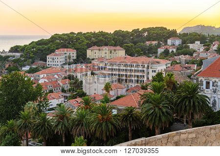 DUBROVNIK CROATIA - AUGUST 31 2009: Gradac Park University and Hilton Imperial hotel outside the old city walls