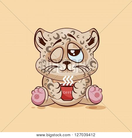 Vector Stock Illustration Emoji character cartoon Leopard cub just woke up with cup of coffee sticker emoticon for site, infographic, video, animation, website, e-mail, newsletter, report, comic