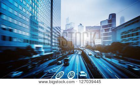 traffic in downtown district,hongkong china.